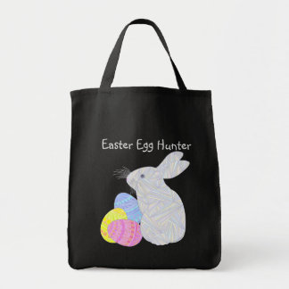 White Easter Bunny Easter Eggs Colorful Rabbit Fun Tote Bag