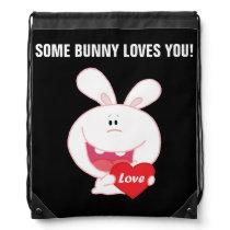 White Easter Bunny Holding Red Heart Drawstring Backpack