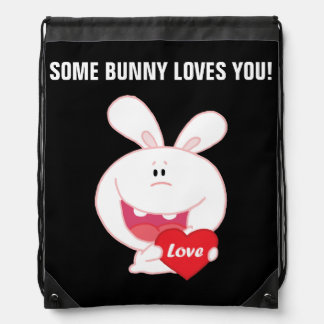 White Easter Bunny Holding Red Heart Drawstring Backpack