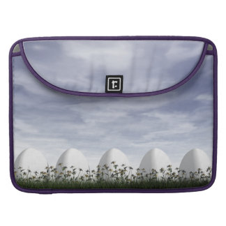 White easter eggs in nature - 3D render MacBook Pro Sleeve