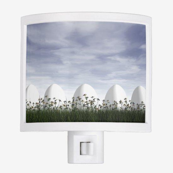 White easter eggs in nature - 3D render Night Light