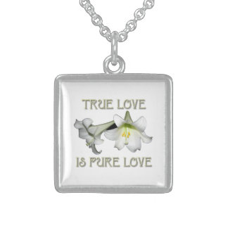White Easter Lilies: True Love is Pure Love Square Pendant Necklace