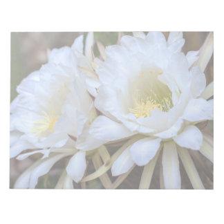 White Echinopsis Cactus Blooms - Notepad