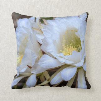 White Echinopsis Cactus Blooms - Pillow
