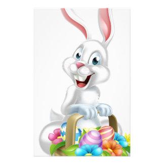 White Egg Hunt Easter Bunny Stationery