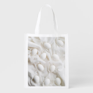 White eggs reusable grocery bags