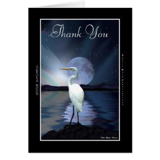 White Egret, Aurora & Moon Thank You Card