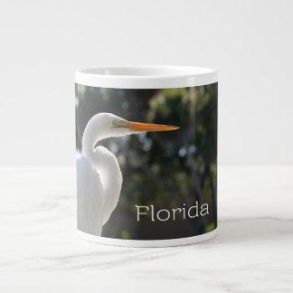 White Egret backlit florida text looking right Large Coffee Mug