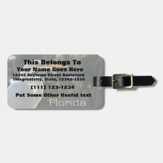White Egret backlit florida text looking right Luggage Tag