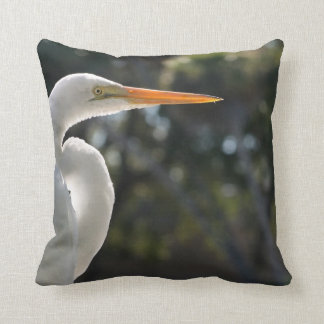 White Egret backlit looking right against trees Pillow