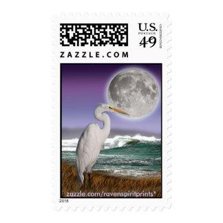 White Egret, Beach & Moon postage stamps