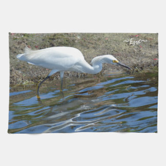 White Egret bird Kitchen Towel