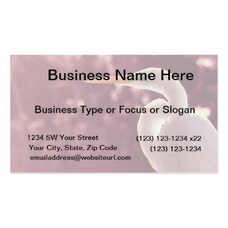 white egret bird on right burgundy tint business card