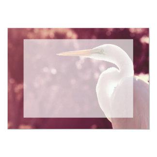 white egret bird on right burgundy tint card