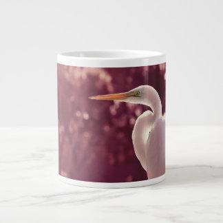 white egret bird on right burgundy tint large coffee mug