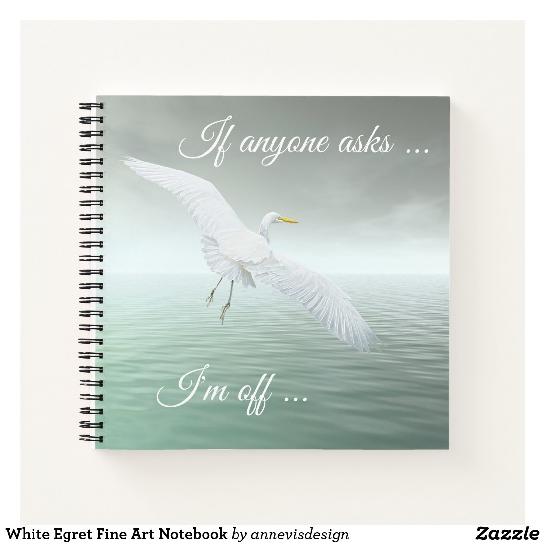 White Egret Fine Art Notebook
