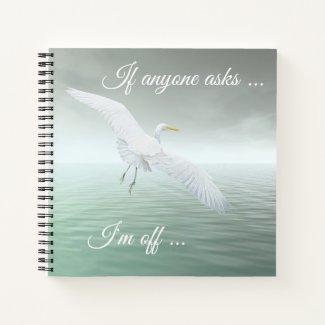 White Egret Fine Art Notebook