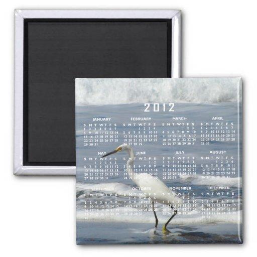 White Egret Fishing; 2012 Calendar Refrigerator Magnets