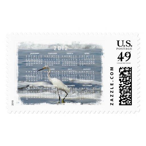 White Egret Fishing; 2012 Calendar Postage Stamp