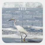 White Egret Fishing; 2012 Calendar Square Stickers