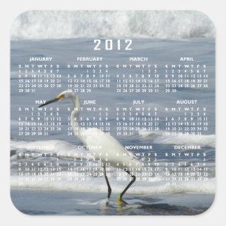 White Egret Fishing; 2012 Calendar Square Sticker