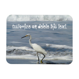 White Egret Fishing; Customizable Magnet