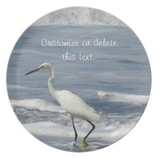 White Egret Fishing; Customizable Plate