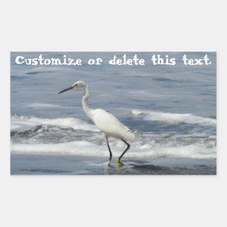 White Egret Fishing; Customizable Rectangular Sticker