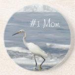 White Egret Fishing; Happy Mother's Day Beverage Coaster