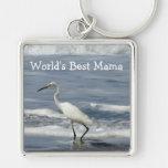White Egret Fishing; Happy Mother's Day Keychain