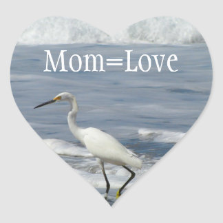 White Egret Fishing; Happy Mother's Day Heart Sticker
