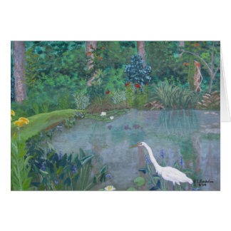 White Egret Fishing in Pond Card