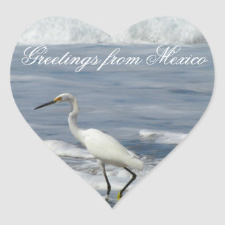 White Egret Fishing; Mexico Souvenir Heart Sticker