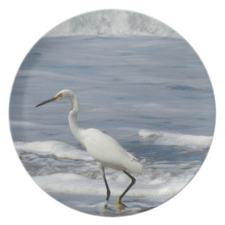 White Egret Fishing Plate