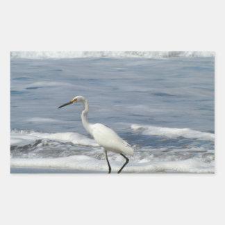 White Egret Fishing Rectangular Sticker