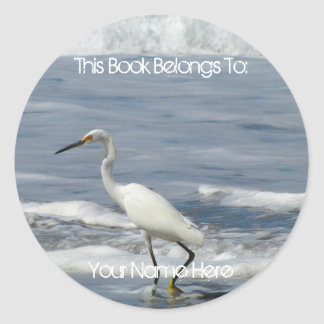 White Egret Fishing Classic Round Sticker
