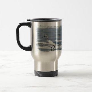 White Egret Fishing Travel Mug