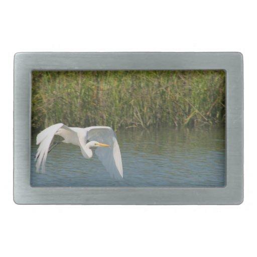 White Egret flying over water grass Rectangular Belt Buckle