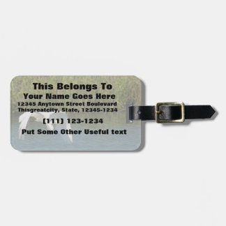 White Egret flying over water grass Luggage Tag