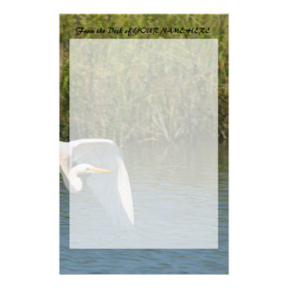 White Egret flying over water grass Stationery