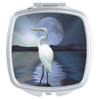 White Egret, Full Moon & Aurora Wildlife Scene Makeup Mirror