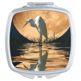White Egret & Full Moon Wildlife Nature Scene Compact Mirrors