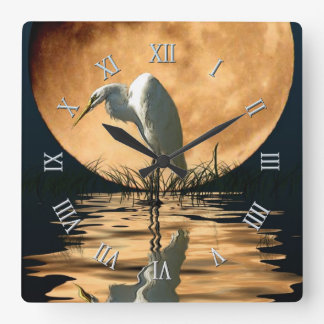 White Egret & Full Moon Wildlife Nature Scene Square Wall Clock