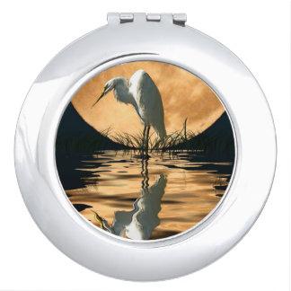 White Egret & Full Moon Wildlife Nature Scene Vanity Mirrors