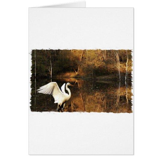 white egret golden pond card