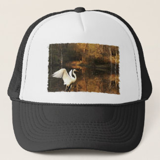 white egret golden pond trucker hat