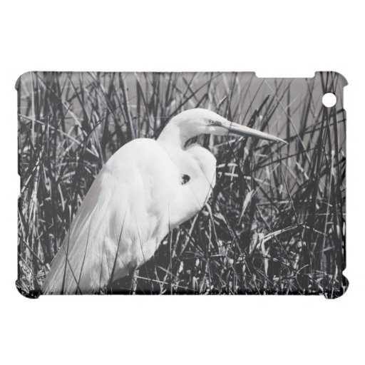 White Egret in reeds bw iPad Mini Cover