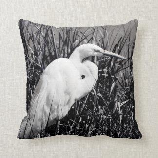 White Egret in reeds bw Pillow