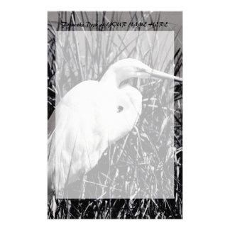 White Egret in reeds bw Stationery