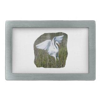 White Egret landing in marsh Rectangular Belt Buckles